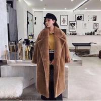 abrigo de piel marrón de las mujeres al por mayor-Capa de las mujeres de piel falsa de oso de peluche de Brown chaquetas de lana gruesa chaqueta invierno Fuzzy caliente Abrigo de piel de oveja largo Parka Abrigo LJJA2683-1