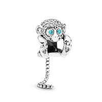 Wholesale monkey bracelets for sale - Group buy New Authentic Sterling Silver Bead Sparkling Monkey Charm Fit Original Gift for Girls and Women Pandora Bangle Bracelet DIY Jewelry