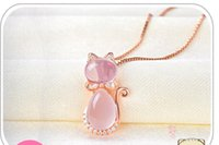 Wholesale cat pendant rose gold for sale - Group buy Hot Luxury Necklace Plated Rose Gold Natural Furong Stone Powder Crystal Cute Cat Female Pendant Clavicle Chain