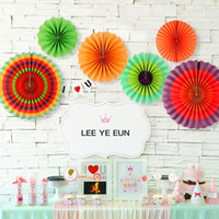Wholesale supply fan resale online - 12pcs Colorful Paper Fans Birthday Kids Party Hanging Decoration Hang Swirl for Mexican Party Supplies Home Wall Decor