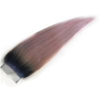 ingrosso pezzi di chiusura remy remy-Remy Cambodian ombre chiusure di pizzo capelli dritti donatore vergine capelli umani pezzi 4 * 4 chiusura superiore due toni colorati capelli crudi 8-20 pollice