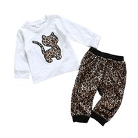 Wholesale girls cat outfit for sale - Group buy Kids Gilrs Leopard Outfits Infant Baby Long Sleeve Cartoon Cat Tops Kids Casual Clothes Girls Leopard Pants Toddler Casual Clothing