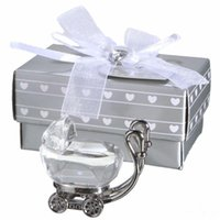 Wholesale baby crystal souvenir resale online - Indian Crystal Baby Shower Favors Gifts for Guest Crystal Baby Carriage Present Party Favors Baby Souvenir EEA405
