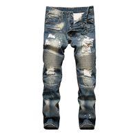 джинсовые джинсы оптовых-Retro Colors Jeans Homme 2019 New Europe Funky Hole Patches Distressed Jeans Slim Fit Straight Leg Rock Hot Sale