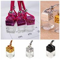 base de botella de vidrio al por mayor-Cubo Botella de perfume del coche Colgante del coche Perfume Vista posterior Ornamento Ambientador de aire Aceites esenciales Difusor Botella de vidrio vacía CCA11097 100pcs
