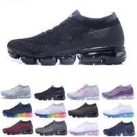 фарфоровая обувь оптовых-Воздуха мужская Марка дизайнерская обувь женщины открытый дешевые тройной черный белый шок воздушной подушке кроссовки спортивные кроссовки Primeknit обувь