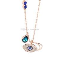 ingrosso scatole di amuleti-Occhio d'argento del diavolo Collana con ciondolo amuleto Occhi azzurri Collana con ciondolo in choker Donne Ragazza Migliore regalo con confezione regalo