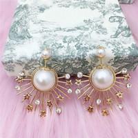 Wholesale silver pearl charms resale online - luxury jewelry S925 sterling silver earrings Radial shaped freshwater pearl Stud charm stud earrings for women hot fashion