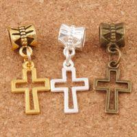 Wholesale bronze cross jewelry resale online - Hollow Cross Charm Big Hole Beads x10 mm Silver Gold Bronze Plated Fit European Bracelets Jewelry Findings DIY B422