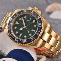 relógio de aço inoxidável resistente a água azul venda por atacado-Luxo Azul Dial Men Watch GMT Nova Mecânico Automático Mestre Mens de Aço Inoxidável Relógios de Pulso Relógios de Negócios Relógios de Pulso À Prova D 'Água
