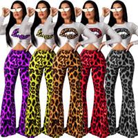 schläger tee großhandel-Frauen Leopard Lip T-Shirt ausgestellte Hose 2 Stück Sets Trainingsanzug Schlaghose Sportswear Crop Tops Ärmellos Langarm T-Shirt Outfits