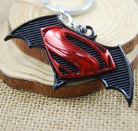 Wholesale stainless superman pendant resale online - Avengers Super Heros Superman vs Batman Metal Keychain Pendant Key Chain Chaveiro Key Ring