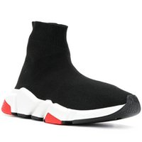 Wholesale sneakers shoes branded online - Socks Designer Shoes Luxury Brand Speed Trainers Race Runners Black Red Mr Porter Triple Black Flat Men Women Fashion Boots Sneakers