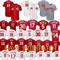 ingrosso barry larkin-66 Yasiel Puig Cincinnati jersey 14 Pete Rose 19 Joey Votto 5 Johnny Benc 11 Barry Larkin 17 Chris Sabo Maglie da baseball