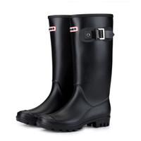 туфли на каблуке для женщин оптовых-Женские теплые подкладки от дождя зимние блочные пряжки на каблуках противоскользящие круглым носком с изоляцией Веллингтон высокая водонепроницаемый