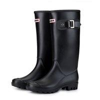 черные простые туфли кожаные женщины оптовых-Женские теплые подкладки от дождя зимние блочные пряжки на каблуках противоскользящие круглым носком с изоляцией Веллингтон высокая водонепроницаемый