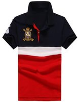 ingrosso tee golf club-Luxury Summer Autunno Uomo Casual Polo Big Pony Golf Club Polo a righe media Camicia sportiva in cotone Tees Blu Rosso