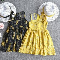 Wholesale yellow cotton flower girl dresses resale online - baby girl embroidered dress flower sleeveless kid floral cotton girls dresses summer girl clothes with hat home clothing WX9