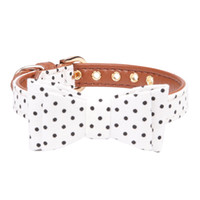 галстуки-бабочки оптовых-Necklace Wave Point Strap Fashion Leather Padded Decorative Soft Gift Pet Supplies Bow Tie Cat Dog Collar Puppy Adjustable