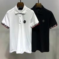almanya şortları toptan satış-SıCAK 2019 Moda Kafatası LOGOSU Marka erkek Polo Gömlek P001 Almanya ünlü Tasarımcı Yaz kısa kollu Adam Yaka Tees PP Luxurys Kadın T-Shirt