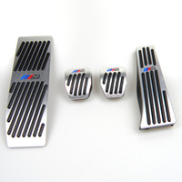 pédales de frein bmw achat en gros de-Aucune perceuse pour BMW Série 1 3 E46 E90 E91 E92 E93 E87 E88 Embrayage Frein à gaz Pédale de repose-pied LHD MT avec logo M