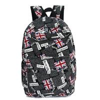 ingiliz okul çantaları toptan satış-Pop İngiliz Ünlü Marka Kadınlar Tuval Sırt Çantası Bayrak Baskı Seyahat Çantası Sırt Çantası Genç Kız Erkek Unisex Omuz Okul Çantası