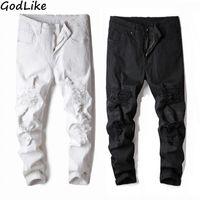 schwarze skinny jeans mode männer großhandel-2018 mode heiße männer schlank moto biker denim jeans dünne ausgefranste hose loch mode stilvoll schwarz weiß stretch jeans plus größe 38