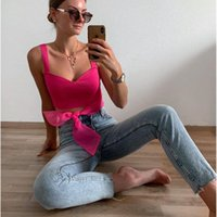 Discount roses crop top 2020 New Women Summer Rose Red sexy Tops bow Casual Fashion Female strap Crop Top Mujer Verano haut femme