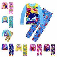 Wholesale kids clothing sets online - 2pcs set INS Kids Baby Shark Long Sleeve Pajamas Set Cartoon Clothing Sets Animal Shark T Shirt Pants Outfits Home Clothing CCA11232 set