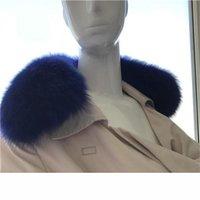 синий лисий шарф оптовых-Royal Blue Популярные 100% Real подлинной Fox меховой воротник шарфы зимы теплый шарф