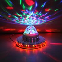 dönen kristal top toptan satış-LED küçük güneş UFO renkli dönen ışık KTV sahne lazer ışığı çubuğu ışık fener Mini Kristal Magic Ball