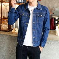 más el tamaño de chaquetas de jean azul al por mayor-Hombres Jean Chaquetas Azul oscuro Ropa negra Chaqueta de mezclilla Moda Hombre Jeans Chaqueta Thin Spring Outwear Hombre Cowboy Plus Size M-4XL