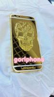 iphone mais 24k venda por atacado-Alta Qualidade Médio Frame Porta Traseira Habitação para o iphone 6/6 s além de 24 k real Ouro Chassis Tampa Traseira com design do crânio