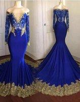 ingrosso vestito chiffon blu da promenade della sirena-2018 sexy blu royal mermaid prom dress Bateau plus size oro appliques abiti da festa manica lunga abiti da sera su misura