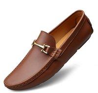 teil beiläufiges kleid großhandel-brand style Herren Kleid Lässig, Party Loafers Schuh Rindsleder Single Schuh Slip On Teil Hochzeit, Italian Shoes Herren Designer Loafers G5.53