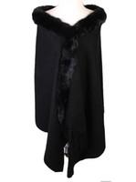 capas de lã preta venda por atacado-Inverno Preto Das Mulheres Chinesas 100% Lã Pashmina Grosso Quente Longo Roubou Cachecóis Lenços de Pele De Coelho Cape Tippet 176x68 cm PM009