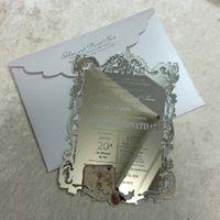 gravierte einladungen großhandel-Acryl Einladung Acryl Menükarte / Laser geätzt / graviert Spiegel Hochzeitsmenü, Spiegel Acryl, Acryl Einladung,