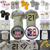 clemente jersey cinza venda por atacado-Roberto Clemente Jersey Puerto Rick Pittsburgh MN Baseball Hall Of Fame HOF remendo Homens Mulheres cinzento das riscas