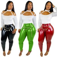 Wholesale red leather sleeve shirt resale online – Women Designer Sweatsuit Shirt Leggings Two Piece Sets Tracksuits Skinny Trousers PU Solid Color Leather Slash Neck Fall Selling
