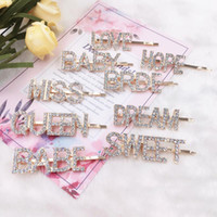 50 Colors Women Hairpins Hair Clips Letter Rhinestone Bobby Pins Side Bangs Clips Barrettes Headwear Girls Fashion Hair Accessories Jewelry