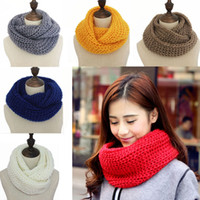 Wholesale warm scarf bibs resale online - 19 Colors Knitted Woolen Warm Winter Scarf Neck Knitted Bib Warmer For big girls Snood Thermal Ski Cycling Ring Wraps Scarves cm M411