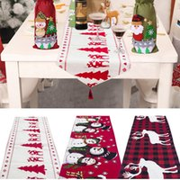 tischdecken tischwäsche großhandel-Weihnachtsdekoration Leinen Stickerei-Tisch Flag Tischläufer Printed Quaste Tischdecke Tischset Hotel Home-Festival-Dekoration