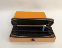fermuarlar deri cüzdan toptan satış-Toptan 6 renkler moda tek fermuar tasarımcı erkek kadın deri cüzdan bayan bayanlar turuncu çanta ile uzun çanta kart 60017