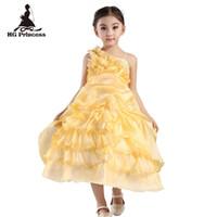 vestidos de un hombro amarillo para niños. al por mayor-HG Princess 2-10 años vestido de fiesta de niña 2019 nueva llegada de un hombro Eveving vestidos de niña vestidos de niña de flores amarillas para bodas