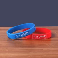 wristband do esporte do silicone dos homens venda por atacado-Jelly Pulseira Donald Trump EUA Presidente Pulseira Mulheres Homens Casal Silicone Pulseiras Esportes Azul Vermelho Portátil 1 2dl