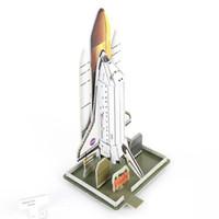 rompecabezas de papel 3d al por mayor-Al por mayor-DIY Puzzle Space Shuttle Rocket 3D Stereo Jigsaw Puzzle Toy Space Shuttle Paper Model Creative Toy para regalo de cumpleaños para niños