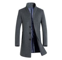 ingrosso mens 4xl cappotto di trincea-Winter Mens Solid Trench Coat Collo con risvolto lungo Cappotti Button Business Style Fashion Hoome Abbigliamento