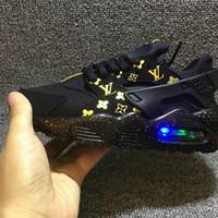 sapatas running intermitentes venda por atacado-Nike Air Huarache Luz do Flash Air Huarache Crianças Tênis de Corrida Sneakers Infantil Crianças Huaraches huraches