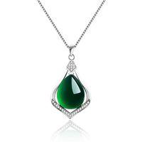 настоящее ожерелье с капюшоном оптовых-Real 925 Sterling Silver Natural Jade Link Chains Pendants Necklaces for Women Sterling-Silver-Jewelry  Pendant water drop