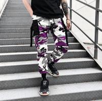 камуфляжные штаны для фитнеса оптовых-Мода Полосатый Брюки-Карго Мужской Камуфляж Брюки Фитнес Мужчины Ins Drawstring Брюки Хип-Поп Одежда